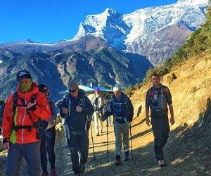 after acclimatization at namche, the nepalgram team trekking towards Everest base camp