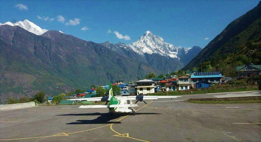 aero plane at lukla airport, lukla is gateway to everest base camp trekking by air