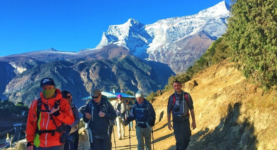 trekkers on their 3rd day of everest base camp trekking