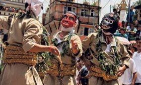 local folks dressed up for festival gai jatra