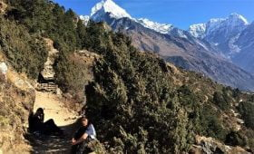 mahalangur himalaya range seen in Thame valley in Everest Trek