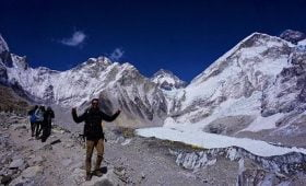 Happy Matthew on his succesfull everest base camp trek with Nepalgram a local trekking agency in Nepal - Nepalgram Adventures