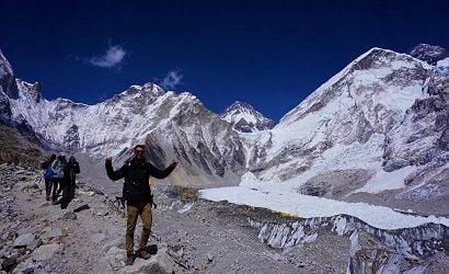Happy Matthew on his succesfull everest base camp trek with Nepalgram a local trekking agency in Nepal - Nepalgram Adventures