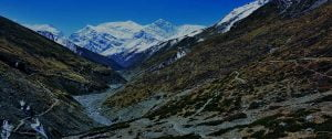 Trekking trail of Annapurna circuit by thorong river valley