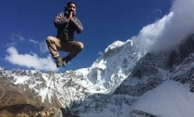 a jumping trekking guide at manaslu trekking trail