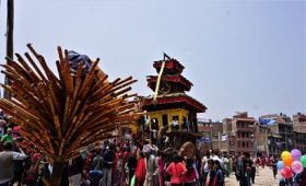 chariot temple captured at bhaktapur during bisket festival