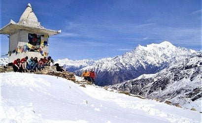 view from laurebina pass in langtang region