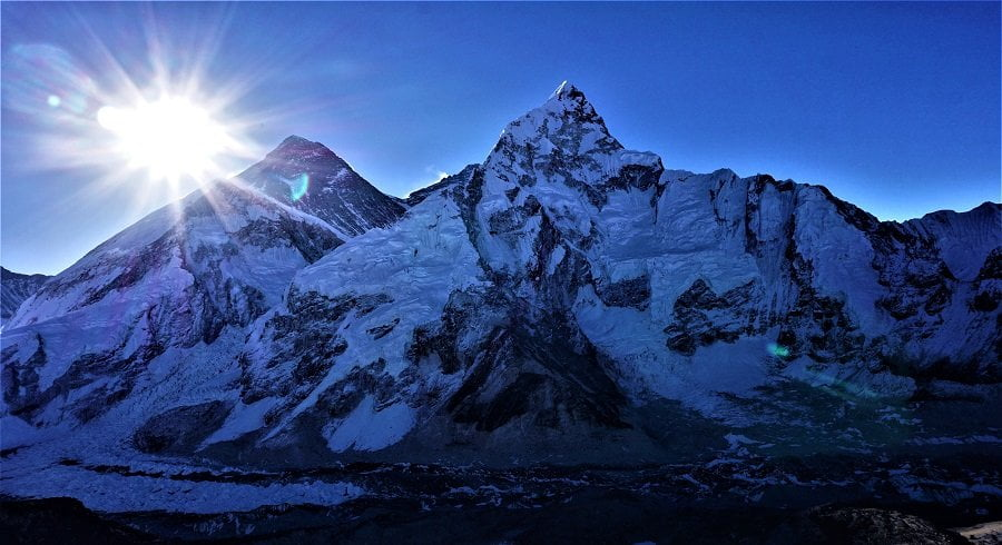 Sunrising at the top of Everest - captured from kalapatthar hike in our Everest basecamp trek
