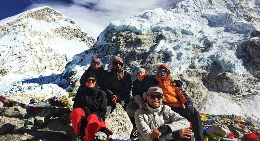 Nepalgram team at Mount Everest basecamp in an excitement