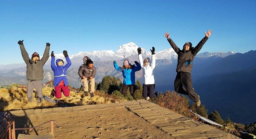The excited jump during Annapurna basecamp trek