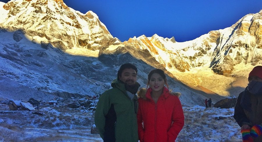 Taking picture with Nepali celebrity during Annapurna base camp trek