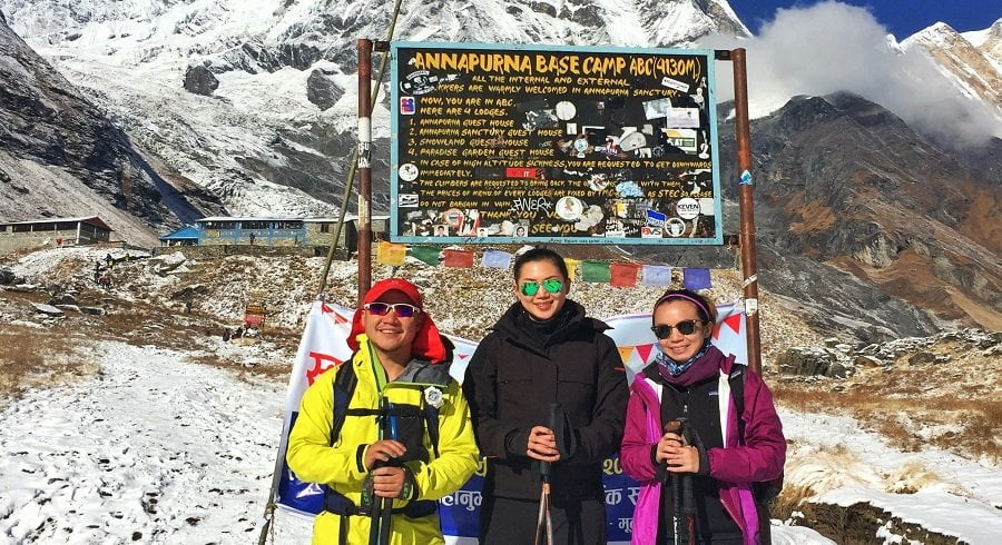 Happy faces on getting to Annapurna basecamp