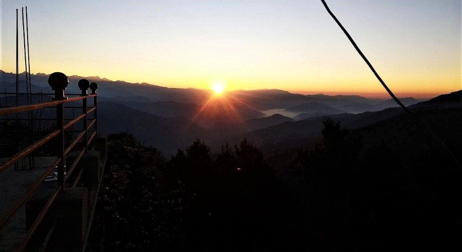 Sunrise captured in chisapani during chisapani nagarkot trek in Nepal