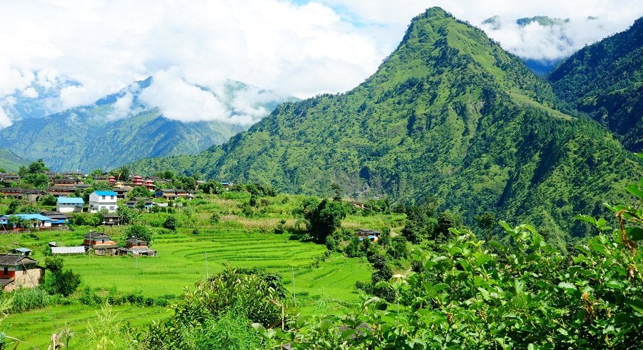 Green hills and scattered village we visited in our Dhaulagiri trekking.