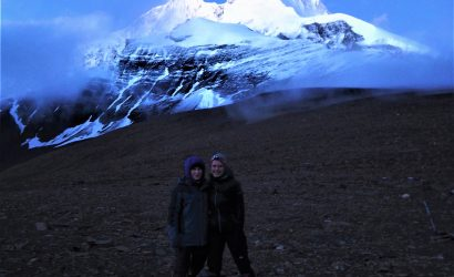 Happy trekkers infront of Dhaulagiri in their adventure trek to Dhaulagiri base camp