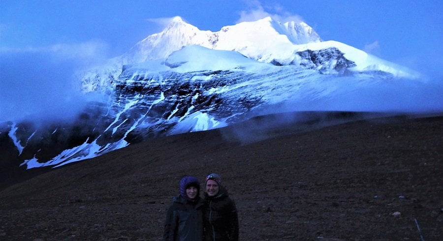 Girls infront of Mt Dhaulagiri in early morning