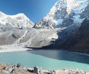 dudh kunda lake, the final destination of short camping trek in lower everest region