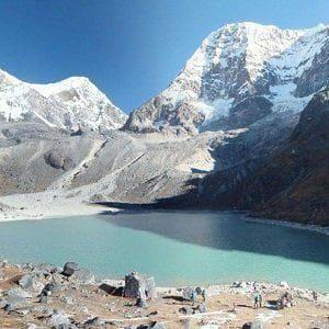 dudh kunda lake, the final destination of short camping trek in lower everest region