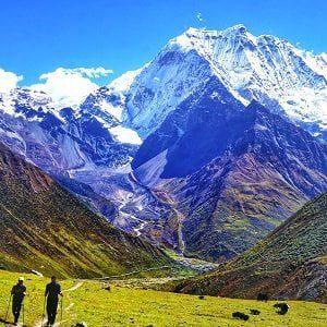 Trekkers on the way to larkey pass, leaving samdo village on their manaslu trekking tour