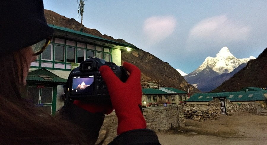 Ada taking picture of Mt amadablam from Khumjung village