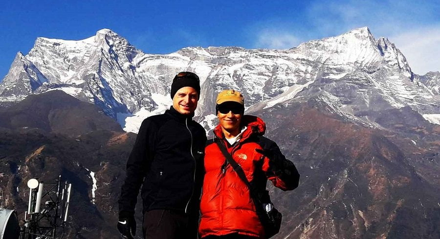 Guide and the guy infront of Mt Kongde on their Everest Panorama trek
