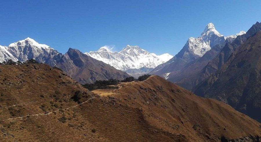 Trekking freom Namche towards Tengboche monastery in our Everest view trek