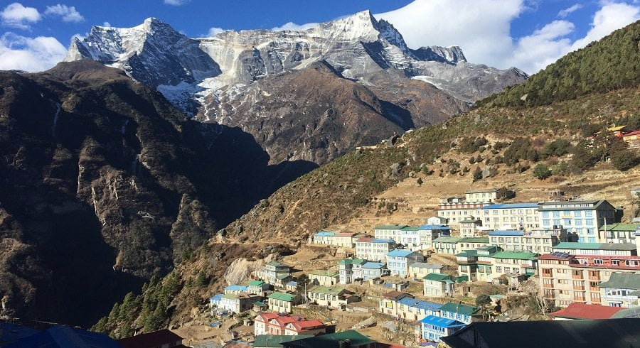 Namche bazzar and Mt Kongde captured in our Everest panorama view trekking trip in Everest Nepal