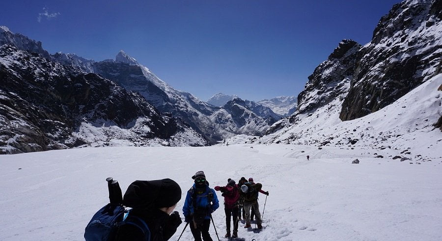 at snowy trail of Chola pass in our everest basecamp gokyo ri chola pass trek