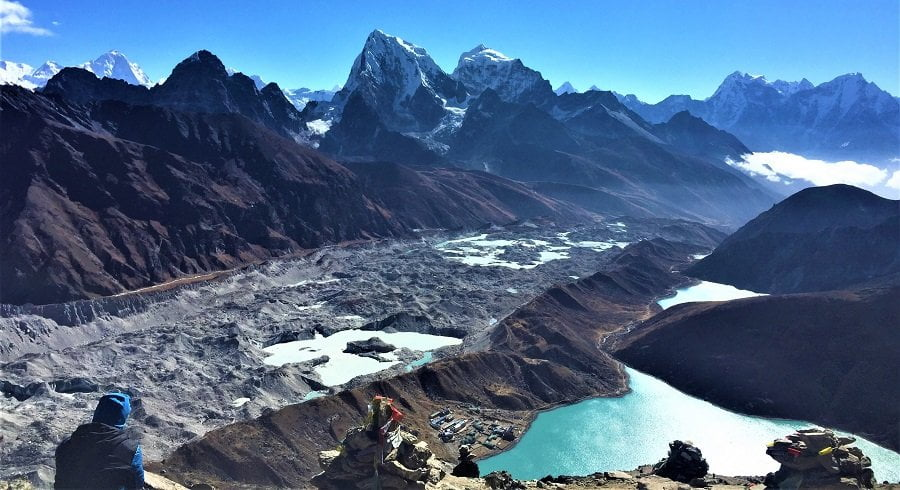 View after crossing the second trekking pass of everest base camp three high pass trek