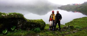 Arun taking picture with local Shaman whom he met on Dudh Kunda lake trekking in the monsoon season
