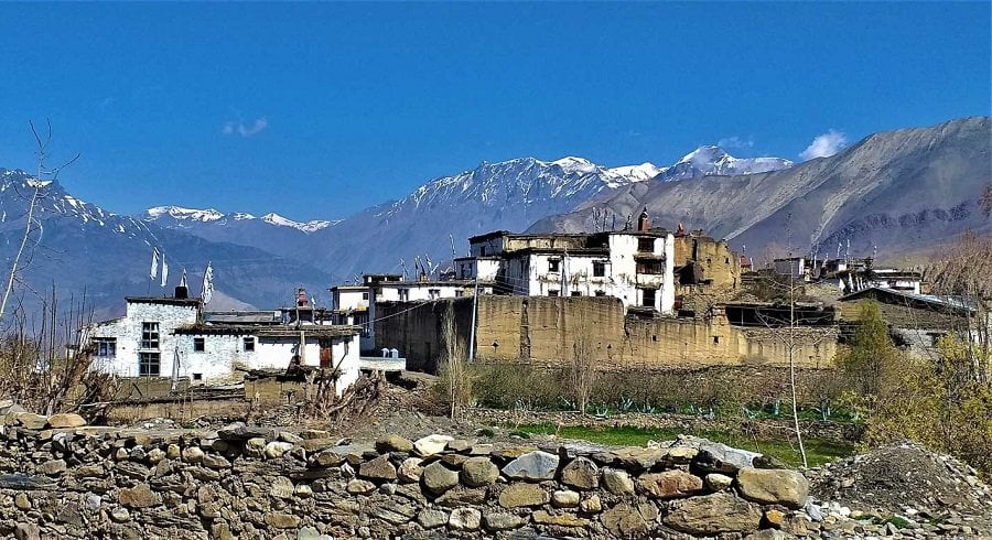 Local village with antique architecture seen near Muktinath temple