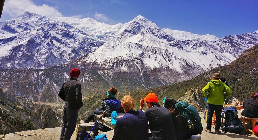 Taking short break on our annapurna circuit trek