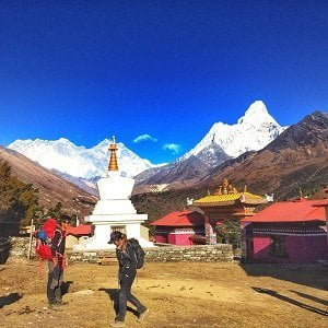 Trekkers at Tengboche, getting ready to trek down after completion of Everest panorama view trekking