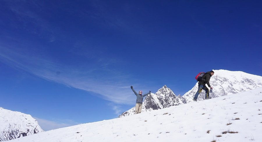 Langtang valley circuit trek in the winter is all about fun walking on snow