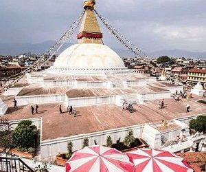 boudhanath stupa captured during lunch break on our 1 Day Kathmandu Tour