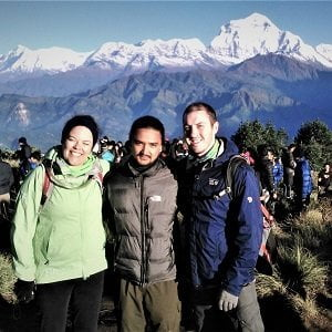 Fletcher on his honeymoon with Nepalgram at poonhill - they sign up for 8 days poon hill trekking tour
