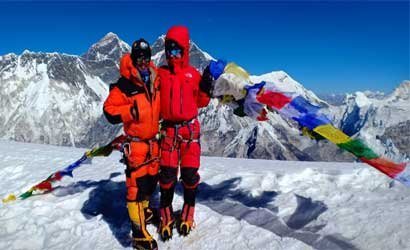 on the top of amadalam - cheering face of amadablam climbing expedition