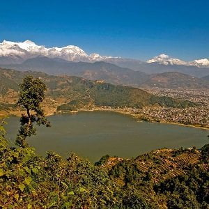 View of pokhara in the fall with lake and the forest - to the far city of pokhara - taken for Best Nepal tour package tour