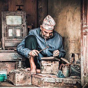 Local man on his work captured frmo Bungmati Khokana day tour