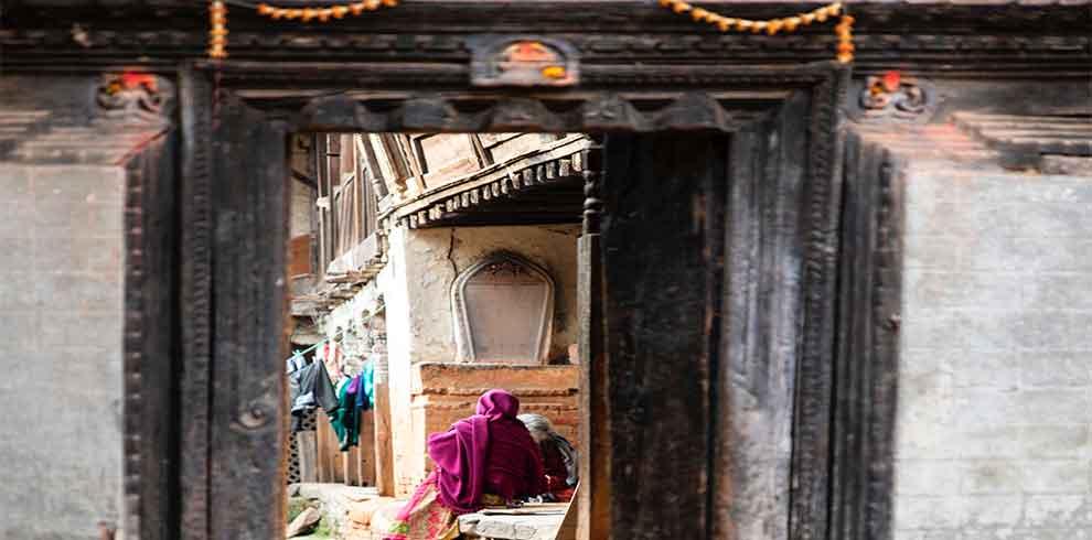 Looking through the doors of villagers in Bungmati Khokana day tour