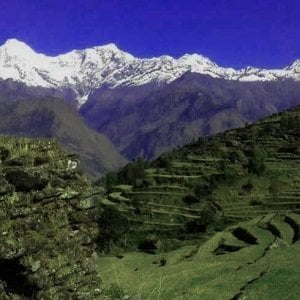 Remote village view of ganesh Himal base camp trekking, the approaching view of Mt Ganesh