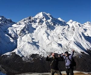 Boys very happy at the base of ganja la pass on their Langtang Valley Ganja La Pass Trek