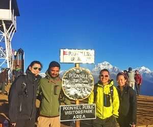 city guys and gilrs wonderin infront of poonhill view in their Ghandruk village trek