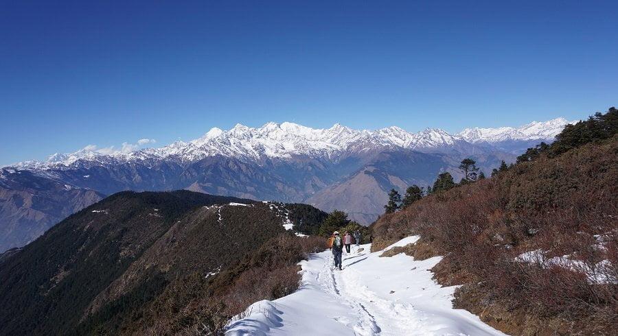 Trekking back from Gosaikunda lake trek in December