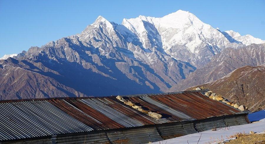 Langtang lirung seen from Laurebina tea house we stayed
