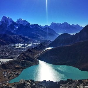 gokyo lake view from Gokyo ri climb. The lake is before chola pass to get to everest base camp in a trek starting from jiri.