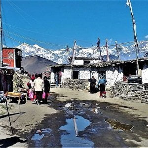 Muktinath Village and the houses of jomsom muktinath trek, a sample