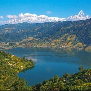 picture of phewa lake seen from world peace stupa in kathmandu Pokhara Tour package