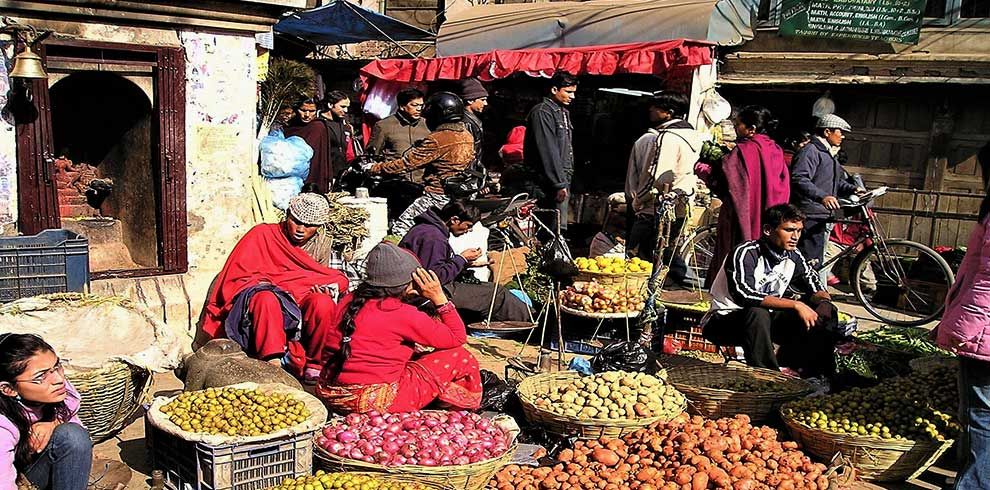 local market inside Kathmandu valley seen fro the Rikshaw