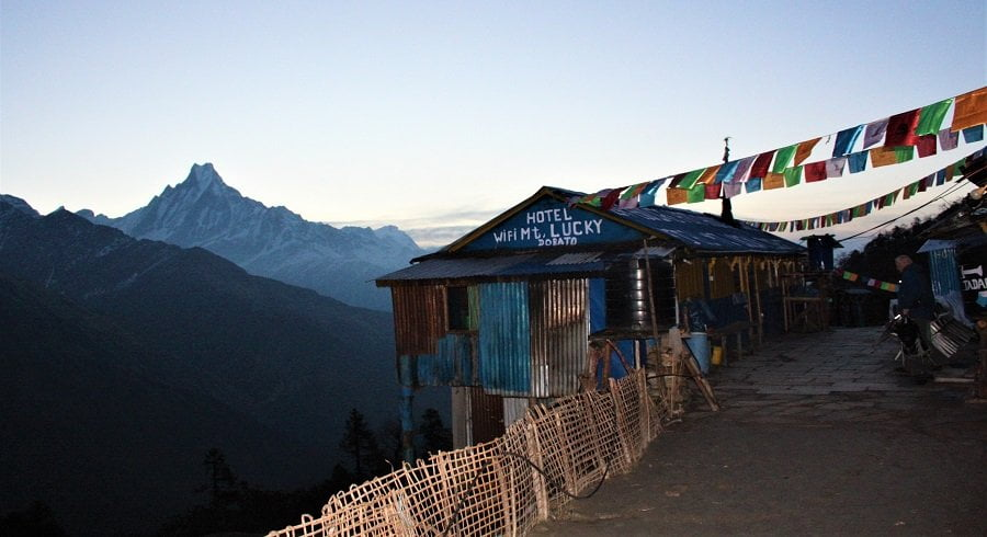 Teahouse at Dobato of Khopra ridge trekking route